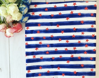 Stars and Stripes Quilting Fabric. Fabric by the Yard. Cotton Minky Jersey Knit. Baby Kids Star Red White and Blue 4th of July Patriotic
