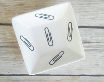 Paperclip holder, Trinket dish, Ring Dish, Office supply storage, Office desk decor