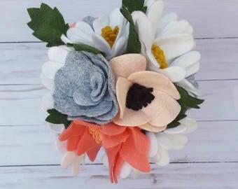 spring bouquet, spring flowers, neutral wedding bouquet, felt flower bouquet, felt wedding bouquet, spring wedding