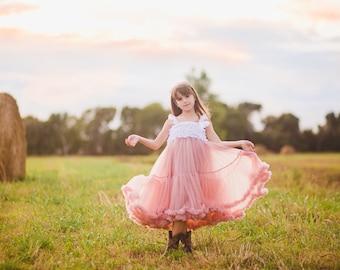 Boho Rustic Flower Girl Dress, Twirl Dress, Vintage Lace Dress, Girls Tulle Dress, Girls Lace Dress, Princess Dress, Pink Tulle Dress