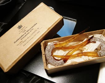 Beautiful 20's art deco tortoiseshell and diamanté hair combs, vintage mantilla combs, boxed in original packaging, celluloid