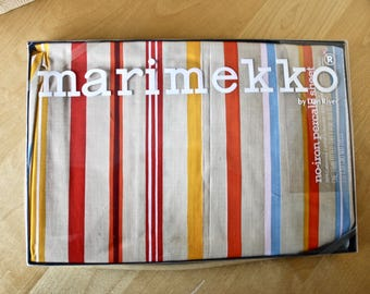 Vintage Marimekko by Dan River Striped Fitted Bed Sheet/ c.1975/ Twin Fitted Sheet