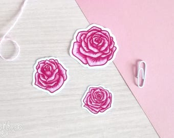 Set of 3 handmade pink roses flowers stickers