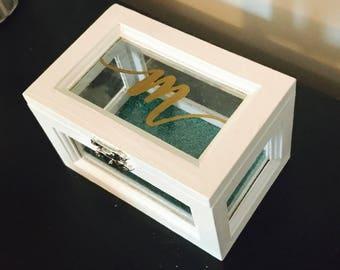 Custom made jewelry box, hand painted jewelry box, wooden jewelry box, shadow box, small trinket box, bridesmaid box, handmade