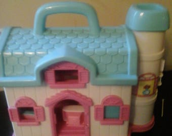 Vintage Blue Box Toys Pink And Blue House W/Furniture
