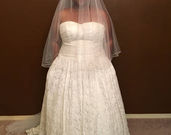 Soft White Cathedral Length Sheer Veil w/ Blusher and Trim