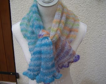 shawl scarf mohair and silk knit handmade grey and Rainbow