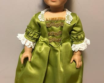 Felicity Gown in Green for 18 inch dolls