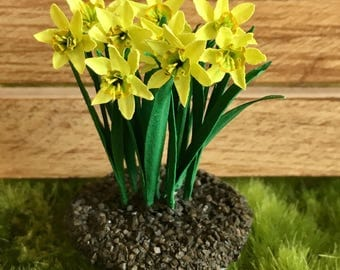 Dollhouse Miniature Yellow Green Daffodil Landscape Artist Made