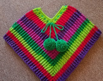 Crochet girls textured poncho