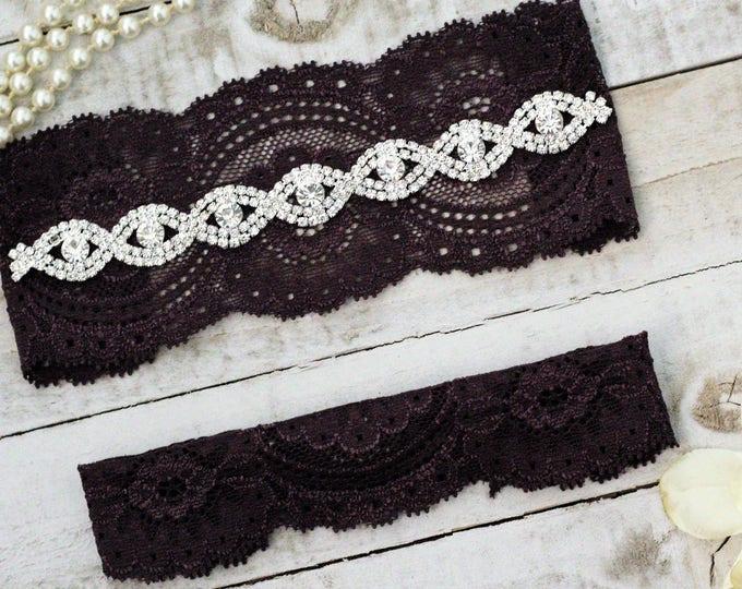 Plum Wedding Garter Set NO SLIP grip vintage rhinestones pearl lace rhinestone