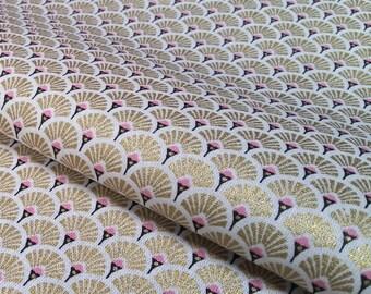 Tissus éventails dorés metallic et rose - Tissu Japonais - Tissu Vagues - Tissu Art Deco - tissu coton Oeko Tex - Nadege Tissus - 1/2 mètre