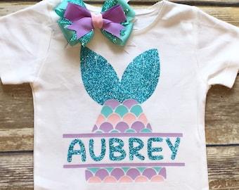 Mermaid birthday shirt personalized