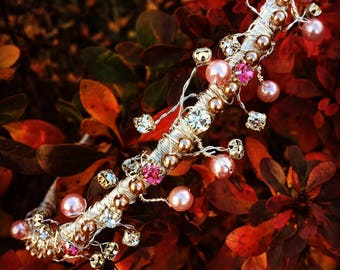 Pink pearl and crystals tiara