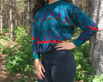 Teal Patterned Sweater of the 80s
