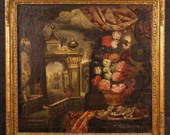 Antique painting landscape with architecture and still life of the 18th century