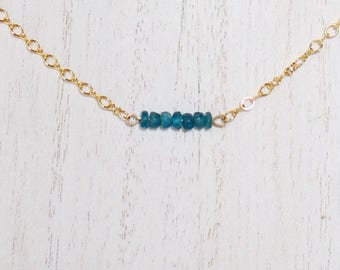Blue Apatite Dainty Gold Chain Choker Necklace