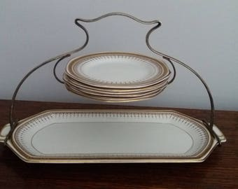 Solian Ware Soho Pottery Cobridge, cake plate, afternoon tea set, vintage, antique