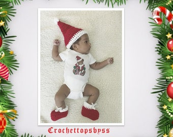 Infant Boys/Girls' Santa Hat & Booties/Infant Boys/Girls' Christmas Outfit