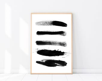 Abstract PRINT, Brush Strokes Print, Modern Minimalist, Black & White Wall Art, Abstract Poster, Scandinavian Art Print, Abstract Wall Art