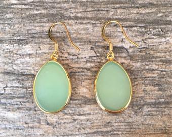 Variscite Drop Earrings with 14k Gold Hooks