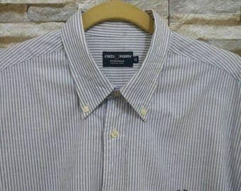 Vintage Fred Perry Shirt Striped Fred Perry Sportswear Long Sleeve Button Down XL