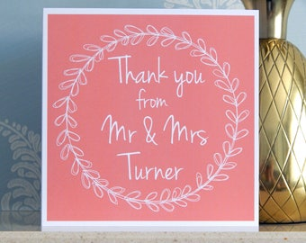 Personalised Wedding Thank You Card - Coral Pink - Mr & Mrs Any Name - Personalized Wedding Thankyou Cards by Dazzilicious Designs