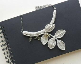 boho necklace, boho chic, floral necklace, Czech glass, Bohemian glass,  fiber necklace, textile necklace, crochet statement necklace