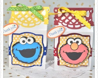 12 Elmo & Cookie Monster Milk Carton Treats Box