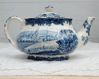 Palissy 1790 Avon Scenes Staffordshire Teapot Hand Engraved