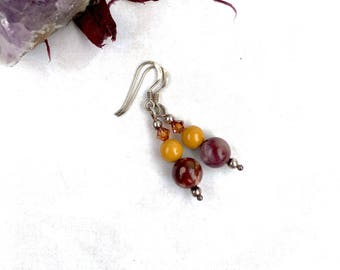 Mookaite Earrings - Mookite Jasper Earrings - Simple Earrings - Silver Dangle Earrings - Autumn Earrings - Bohemian Jewellery - Gift For Her