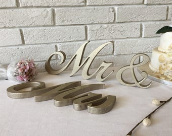 Wedding table top sign Mr & mrs in Champagne metallic with GOLD dust glitter. Wood sign for wedding sweetheart table