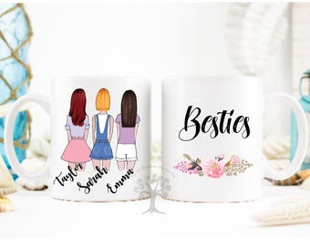 Best friends Mug, Personalized Best Friend Gift, Best Friend Gift, Friendship Gift, Unique Friendship Gift, Besties Mug, 3 Best friends.