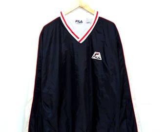 Hot Sale!!! Rare Vintage 90s FILA Embroidery Patch Logo Pullover Windbreaker Jacket Hip Hop Skate Extra Large Size