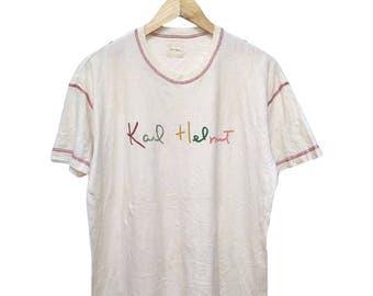 Hot Sale!!! Rare Vintage 90s KARL HELMUT Multicolor Big Logo Spell Out T-Shirt Hip Hop Skate Swag Large Size