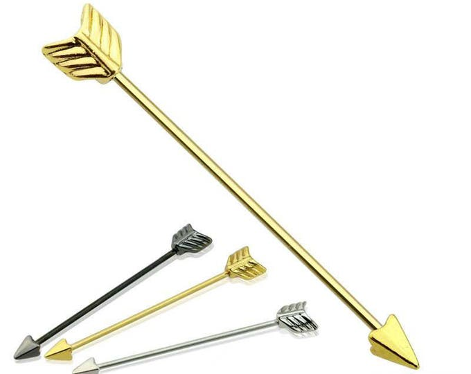 316L Surgical Steel Industrial Barbell Gold Plated Arrow