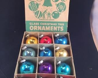 Original Green Shiny Brite Box of 12 Brightly Colored Ornaments
