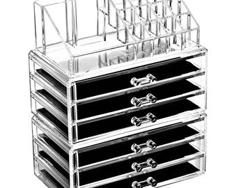 Ikee Design Acrylic Jewelry and Makeup Organizer Storage Drawer Three Pieces Set (6 Large Drawers) (SKU# COMSS1005 )