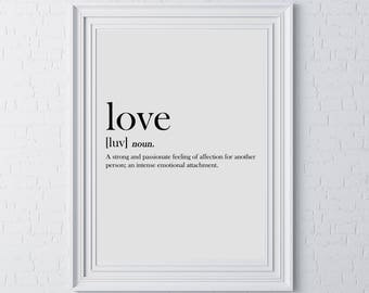 Typography Motivational Wall Print Love Definition Gift Idea Heart Family Couple Kitchen Wall Art Print Mum Sister Aunty Daughter Son Dad