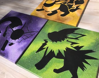 """""""Shinies Flareon, Jolteon and Vaporeon - Painted Canvases Inspired by Pokemon - Set of Three"""