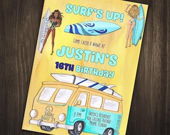 Surfing Birthday Invitation, Surfing Birthday Party Invitation, Surfing Invitation, Surf Party, Birthday Invitation, Surf Birthday Invite
