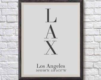 Los Angeles print, LA print, LA poster, Los Angeles coordinates, Los Angeles poster, Los Angeles typography, Coordinate print, Printable art