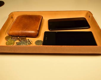 Leather Tray, Leather Organizer, Catchall Tray, Leather Valet Tray - Size Large