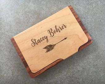 Personalized Business Card Holder With Arrow Business Card Case Job Recognition Business Gift New Job Gift For Her Wood Business Card Holder