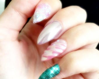 Ariel Press on Nails | Mermaid False Nails | Glitter Chrome | Handpainted Nail Art | False Nails | Glue On Nails | Custom Sizes and Styles