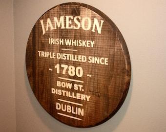 Wooden Jameson Irish Whiskey CNC Engraved Circular Bar Sign
