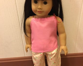 "Pajamas Fits 18"" American Girl Doll Clothes Pillowcase Tank Top Shirt Pants Set of 2pc Outfit"