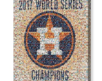 Houston Astros World Series Champions Mosaic Art Print of WS Roster Player Card Images.  Printed on Wall Graphic Material or Mounted Canvas.