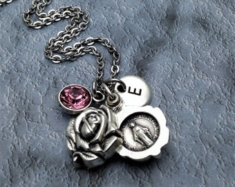 Miraculous Medal Necklace / Sliding Locket Style Rose Pendant / Catholic Necklace / Miraculous Necklace / Virgin Mary Necklace