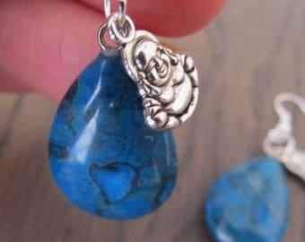 Earrings blue agate with Buddha